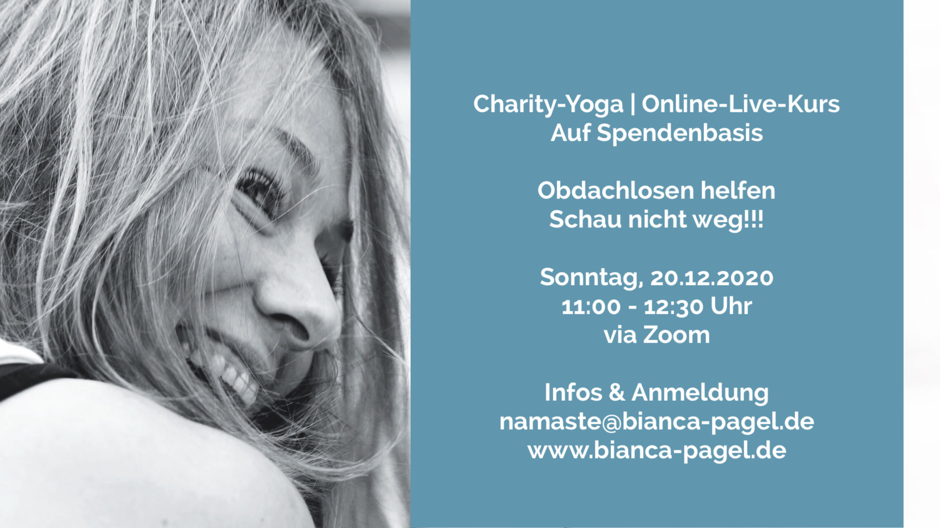 Yoga Feel-Good Hamburg Volksdorf Ahrensburg Entspannung Achtsamkeit Gesundheit Bianca Pagel Schau´nicht weg e.V. Charity-Yoga Online-Live-Kurs